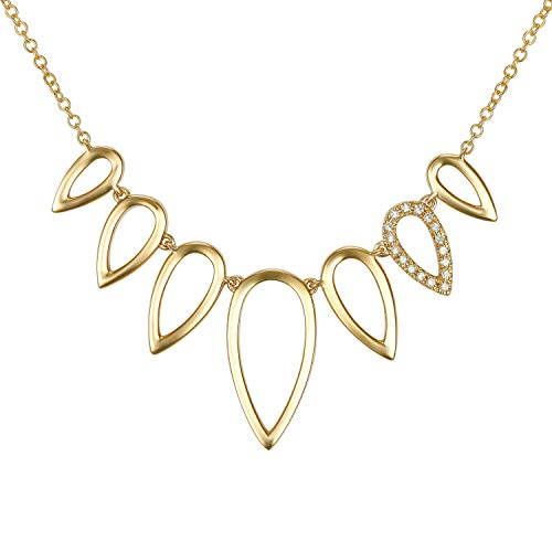 (Women's 14k Yellow Gold 0.05 Ct Genuine Round Diamond Pear Shaped Pendant Thin Chain Necklace)