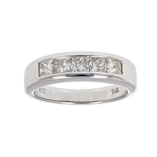 1 CT Princess Diamond Wedding Band in 14K White Gold Size 6