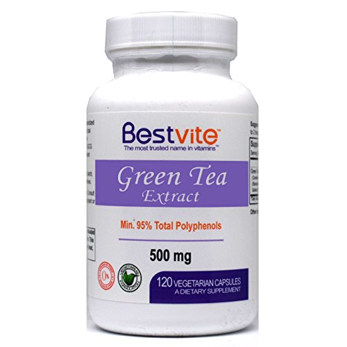 Green Tea Extract 500mg with EGCG and Polyphenols (120 Vegetarian Capsules) - No Stearates - No Fillers - No Flow Agents