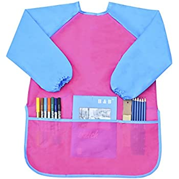Newcomdigi Children's Art Smock Long Sleeve Painting Apron Waterproof Painting Apron(Pink and Blue)