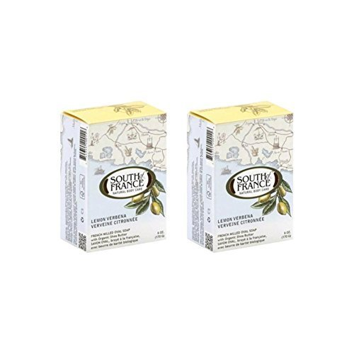 South Of France Natural Bar Soap, Lemon Verbena, 6 Ounce (Pack of 2)