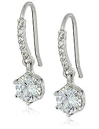 Sterling Silver Swarovski Zirconia Round Drop Earrings