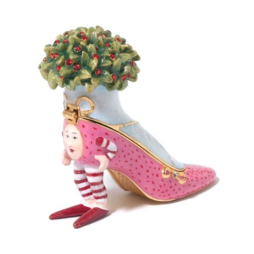 Patience Brewster Christmas Krinkles Pink Shoe Jeweled Box Retired - Ornaments 56-39386KRINK (56 Boxes Jeweled)