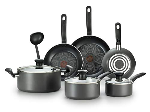 T-fal B208SA64 Initiatives Nonstick Inside and Out Dishwasher Safe Oven Safe Cookware Set, 10-Piece, Charcoal