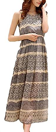 Women's Sleeveless Printed Floral Chiffon Dress Size S Figure color