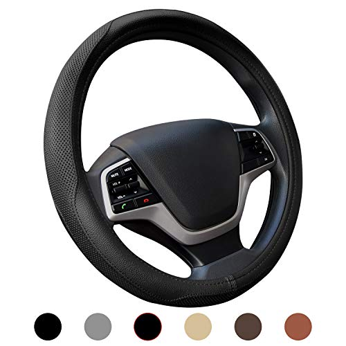 Auto Steering Wheel Cover - Ylife Microfiber Leather Car Steering Wheel Cover, Universal 15 inch Breathable Anti Slip Auto Steering Wheel Covers, Black