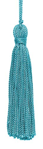 Set of 10 Turquoise Chainette Tassel, 3 Inch Long with 1 Inch Loop, Basic Trim Collection Style# RT03 Color:Turquoise - 04