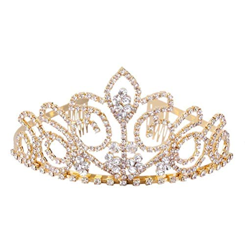 ULTNICE Wedding Tiara Bridal Princess Crown Crystal Rhinestones Headband for Prom Wedding Party Gold