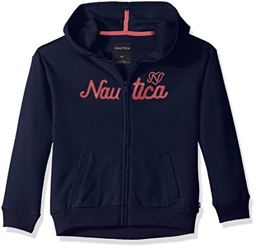 Nautica Girls' Little Long Sleeve Hoody, Navy Logos, 5