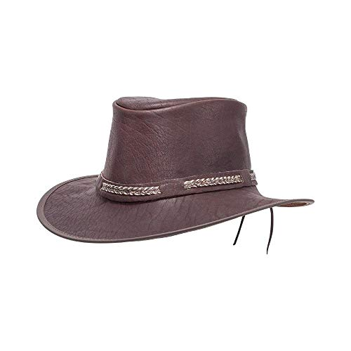 11100d4f7dec86 American Hat Makers Bison by American Outback Buffalo Leather Hat, Brown -  Large