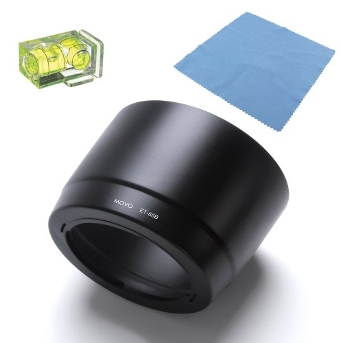 Canon Et 65b Lens Hood - Movo Photo ET-65B Lens Hood for Canon 70-300mm f/4.5-5.6 DO-IS & f/4-5.6 IS USM Lenses with 2X Spirit Level & Microfiber Lens Cloth