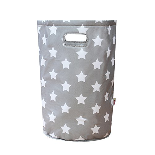 Minene Laundry Hamper Bag Basket Organiser (56 x 37 cm, Large, Round, Grey with White Stars) 21183