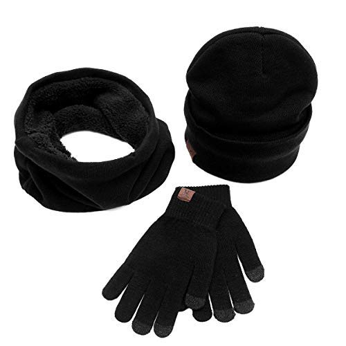 Glove Woman Abollria Touch girocollo fodera pezzi pile Screen Beanie Beanie Knit 3 Winter nero Scarf in Man con Unisex Well Hat Warm OqwYvxOtIr