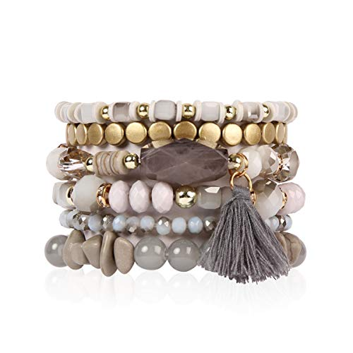RIAH FASHION Bead Multi Layer Versatile Statement Bracelets - Stackable Beaded Strand Stretch Bangles Sparkly Crystal, Tassel Charm (Coin Bead/Tassel - Gray)