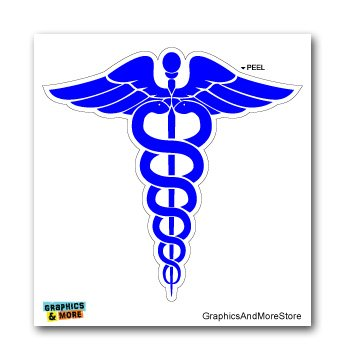 amazon com caduceus medical symbol blue doctor md rn emt window