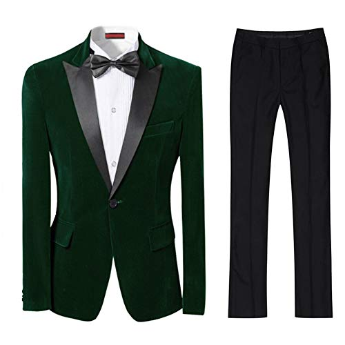 Cloudstyle Mens 2-Piece Suit Peaked Lapel One Button Tuxedo Slim Fit Dinner Jacket & Pants Dark Green