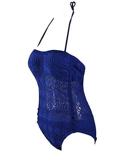 Surenow Sexi Mujer Bañador de Una Pieza Trajes de Baño Bikini Crochet para Playa azul 2