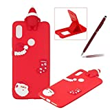 TPU Case for Xiaomi Redmi S2,Soft Rubber Cover for Xiaomi Redmi S2,Herzzer Ultra Slim Stylish 3D Christmas Santa Claus Series Design Scratch Resistant Shock Absorbing Flexible Silicone Back Case - Red