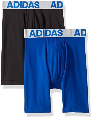 adidas Youth Kids-Boys Boys Sport Performance Climalite Midway Underwear (2-Pack), Collegiate Royal/Clear Grey Black/Clear Grey, MEDIUM