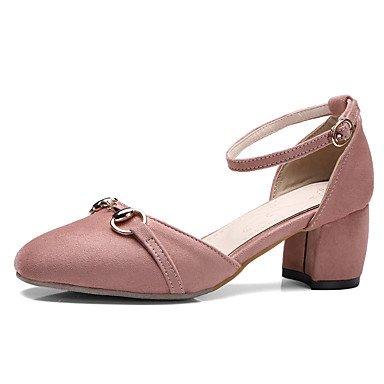 Sandalias Primavera Verano Otoño Zapatos Club Fleece Oficina & Carrera visten casual Chunky talón negro Hebilla Rosa Verde Blushing Pink