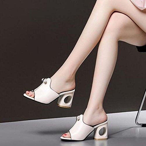 GAOLIXIA Femmes PU Open Toe Pompes Sandales Summer Fashion Talons épais Épais Avec Strass Chaussons Noir Argent Beige Taille 34-43 (Couleur : Beige, Taille : 41)