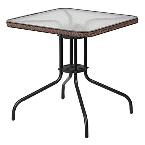 GT Glass Top Bistro Table Square Metal Bistro Outdoor Garden Side End Outside Classic Yard Balcony Porch Furniture and Ebookby Easy2Find by GT
