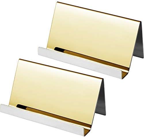 Maxdot Visitenkartenhalter aus Edelstahl, 2 Stück champagnerfarben / goldfarben