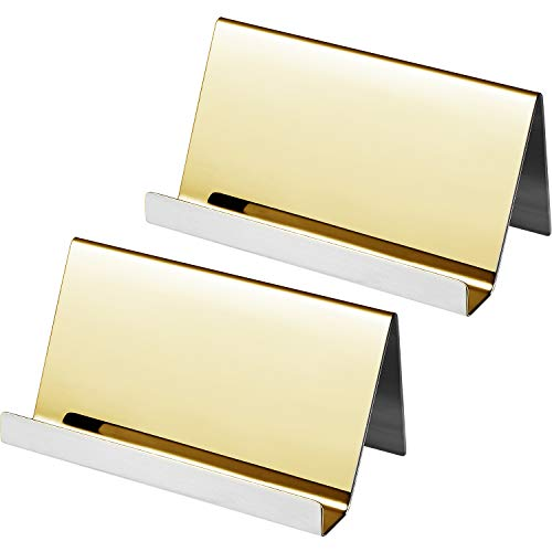 Maxdot 2 Pack Stainless Steel Business Cards Holders Desktop Card Display Business Card Rack Organizer (Champagne Gold)