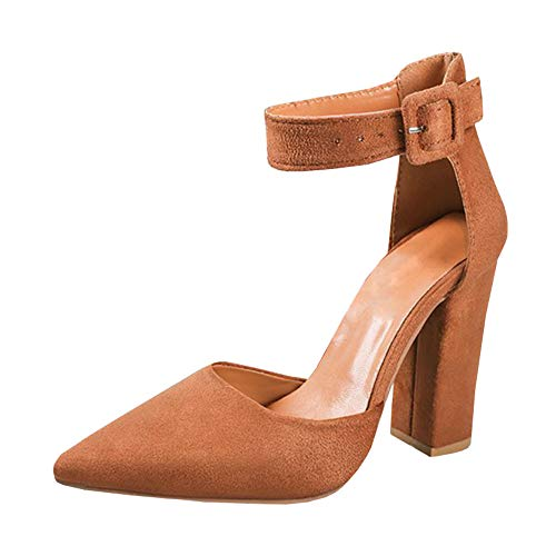 LAICIGO Women's Pointed Toe Ankle T-Strap Party High Heel Pumps Shoes ()