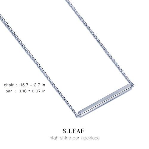 S.Leaf Bar Necklace Sterling Silver Minimalism Line Necklace Horizontal Bar Necklace (Necklace-White Gold) by S.Leaf (Image #4)