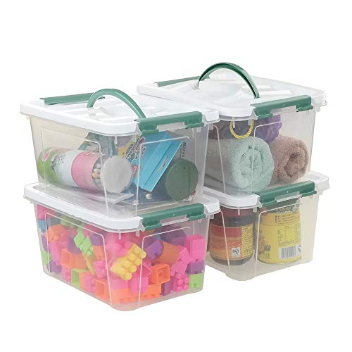 Pekky 6 Quart Storage Container Box with Handle and Latching Fresh Design, Small Toy Organizer Bin, 2-Packs