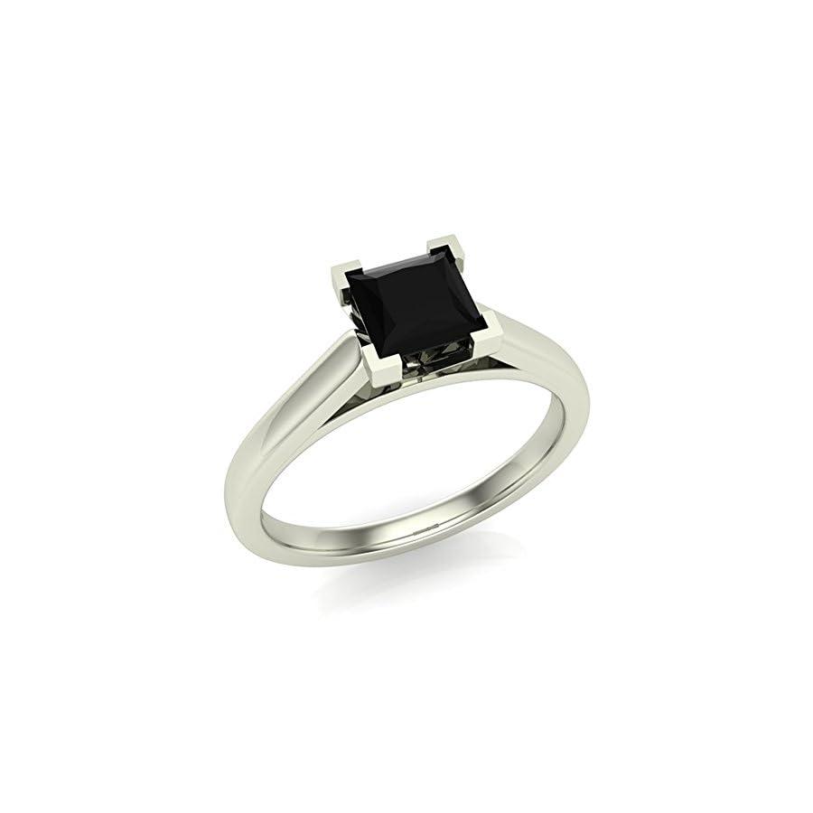 Black Diamond Engagement Ring Princess Cut 14K Gold 1/2 ctw