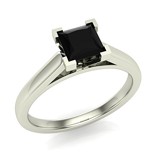 Black Diamond Engagement Ring Princess Cut 14K Gold (AAA) 1/2 ctw
