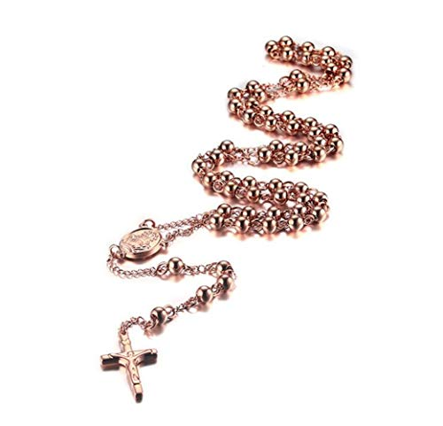 LAFATINA Jesus Christ Crucifix Rosary Necklaces, Stainless Steel Religious Beads Catholic Rosary Necklace Crucifix Cross Pendant for Women Girls, Rose Gold