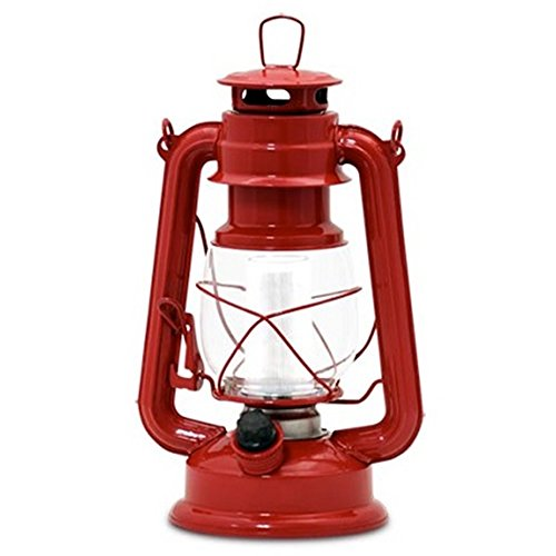 Northpoint Vintage Style Red Hurricane Lantern with 12 LED's and 150 Lumen Light Output and Dimmer switch, Battery Operated Hanging Lantern for Indoor and Outdoor Usage]()