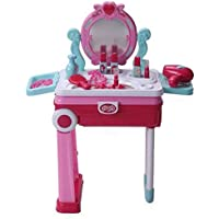 Gooyo Little Beauty Makeup Roleplay/Pretend Play Toy Set with Dressing Table Convertible in Suitcase - Pink for Kids/Girls