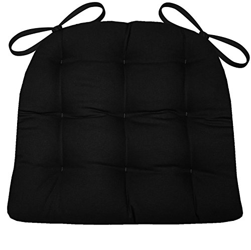 Duck Chair Slipcover Box Seat - Barnett Products Dining Chair Pad with Ties - Black Cotton Duck Solid Color - Size Extra-Large - Reversible, Latex Foam Fill