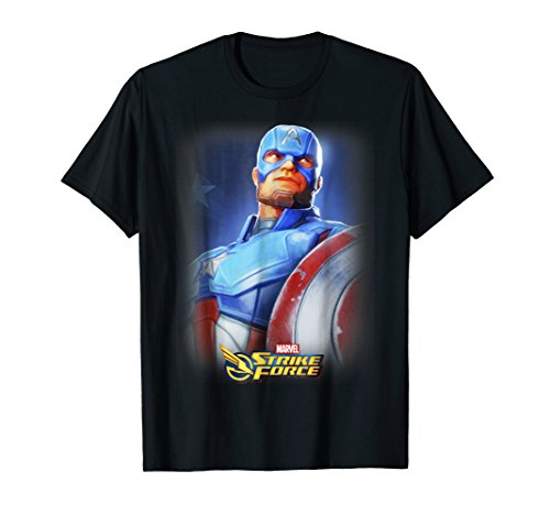 (Marvel Strike Force Captain America Portrait Graphic T-Shirt)