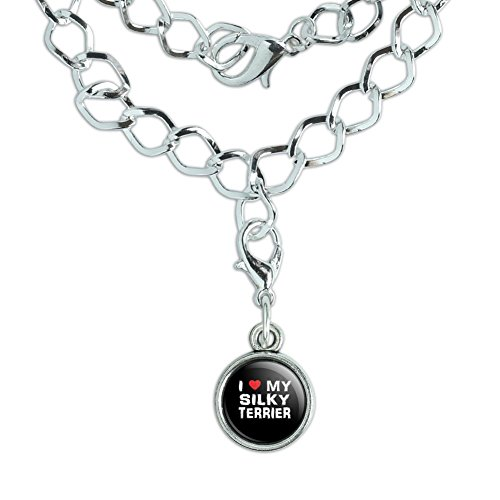 Silver Plated Bracelet with Antiqued Charm I Love My Dog S-Y - Silky Terrier (Silky Terrier Charm)