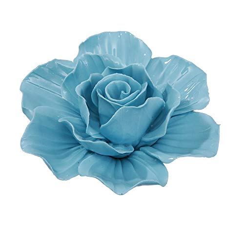 ALYCASO Wall Decoration for Living Room Bedroom Wall Hanging 3D Wall Art Ceramic Flower Pediments Sculpture, Blue, 7.08 inch