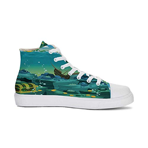 Cartoon Decor Durable High Top Canvas Shoes,Seascape Underwater with Treasure Galleon and Sunk Ship Pirate Kids Print for Men,US 6 (Galleon Pirate Ship)