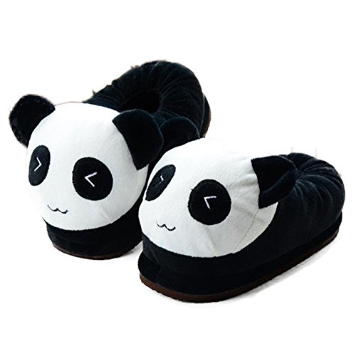 Price comparison product image Knitting Soft Plush Slippers Cartoon Warm Winter House Shoes Parent-Child Couple (M, Panda)