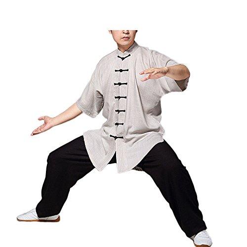 KIKIGOAL Unisex Linen Chinese Traditional Tai Chi Uniforms Kung Fu Clothing Tang Suit Martial Arts Wear (XXL, kihaki)