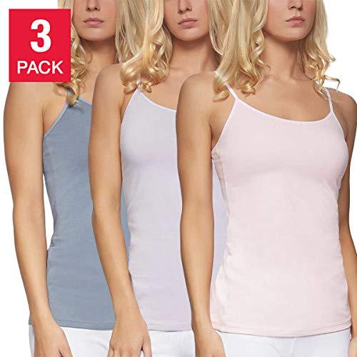 Felina Ladies' Cotton Stretch 3-Pack Camisole (Size Midium) (Argyle Tank Top)
