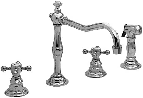 Newport Brass 943 Chesterfield Double Handle Widespread Kitchen Faucet with Side, Polished Chrome