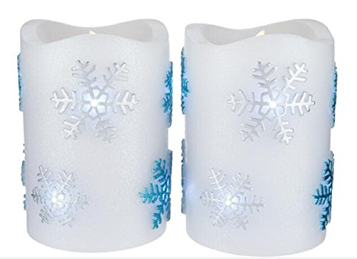 LED Candle Light Flameless Perfect Gift for Holiday Celebration Decoration Premium Quality Patent Design Snowflake Set of 2 - Summer Snowflake