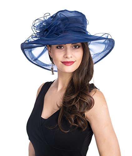 SAFERIN Women's Organza Church Kentucky Derby Fascinator Bridal Tea Party Wedding Hat (SZ-Navy)]()