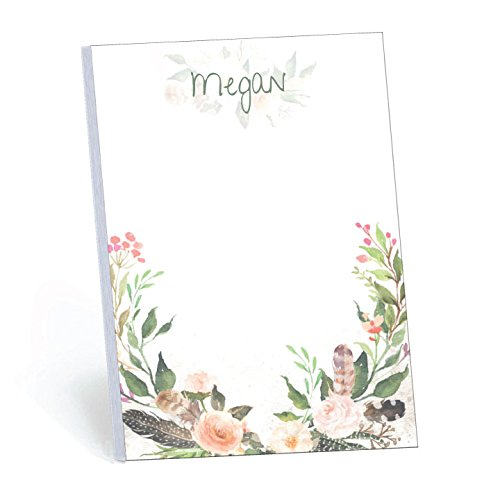 Wrapped in Floral Set of 2 Personalized Memo Pads/Notepads, 2 pads - 50 sheets per pad. Available in 5.5