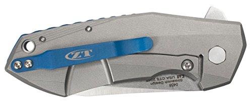 "Zero Tolerance 0456, Sinkevich Pocket Knife; 3.25"" CPM-20CV Steel Blade, Titanium Handle with Stonewash and Satin Finish, KVT Ball-Bearing Opening, Titanium Frame Lock, Reversible Pocketclip; 6.6 OZ. by Zero Tolerance (Image #2)"