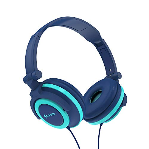 SUNNZO Kids Headphones with 85dB Volume Limited Hearing Protection,Made of Food Grade Material,BPA-Free,Tangle-Free Cord, Wired On-Ear Headphones for Children,Toddler,Baby(Blue-for Boys)